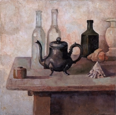 Still-Life-with-bottles-and-Old-Teapot